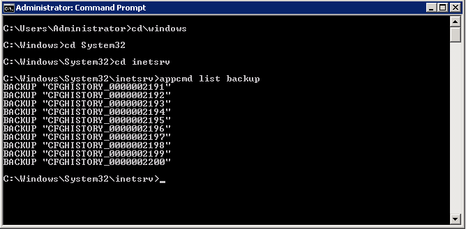 Windows Brasil | Appcmd List Backup